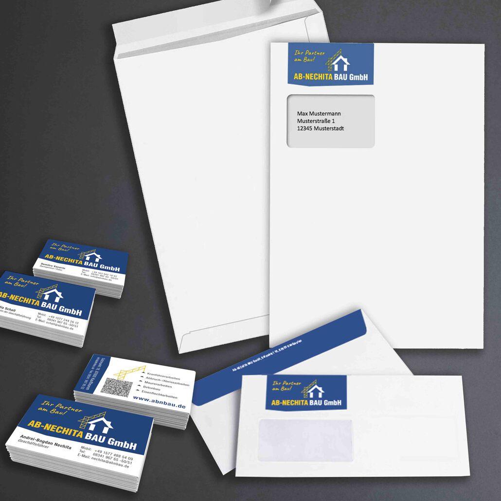 printandgraphic - Werbeagentur - AB-NECHITA BAU - Visitenkarten und Briefumschläge