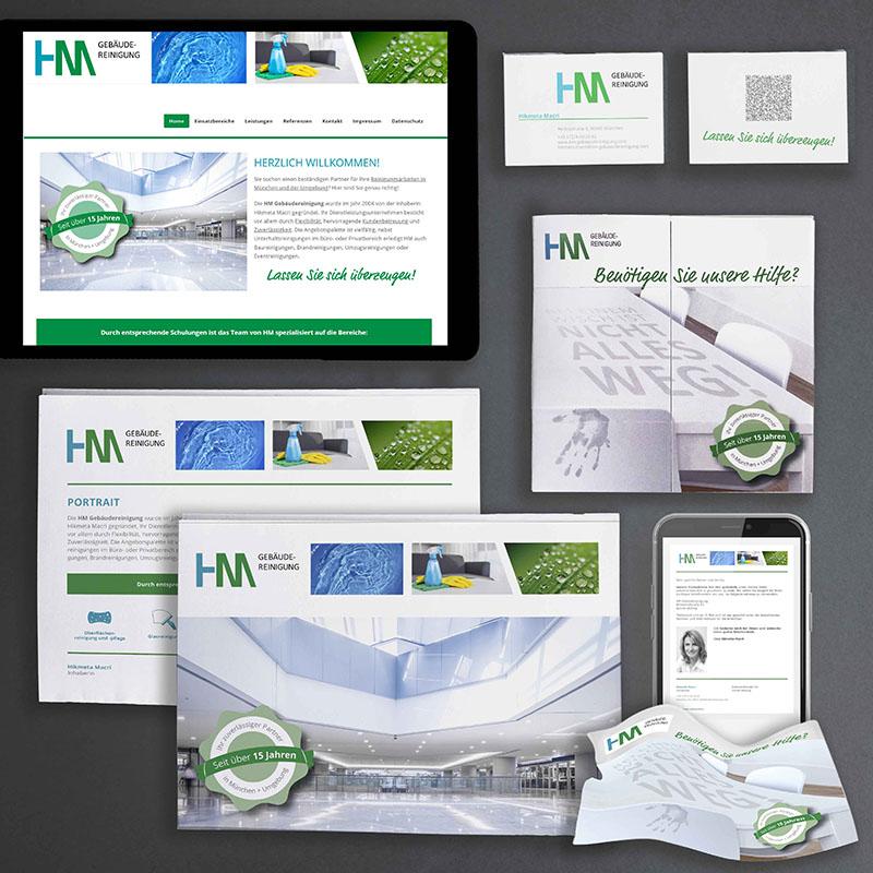 printandgraphic - Werbeagentur - HM Gebäudereinigung - CI, Homepage, Aquisemappe, Werbemittel