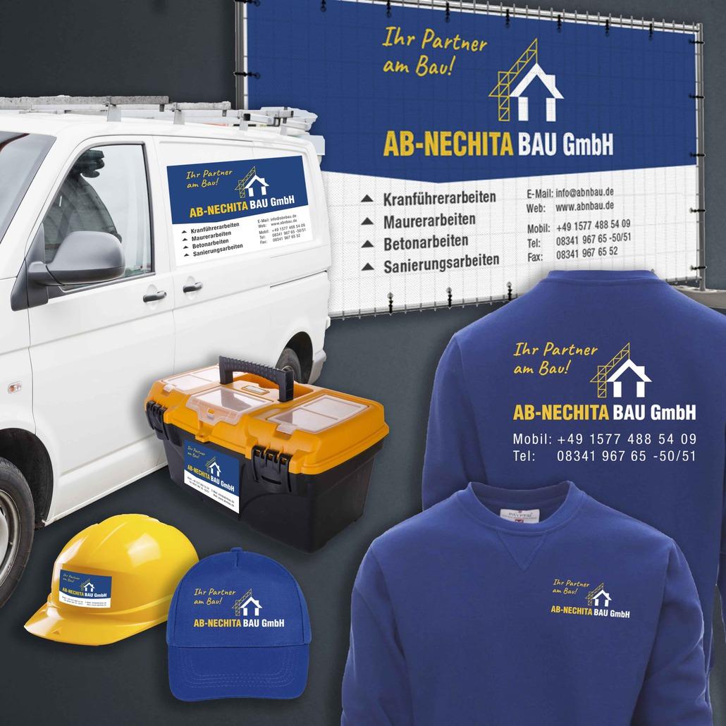 printandgraphic - Werbeagentur - AB-NECHITA BAU - Arbeitskleidung, Fahrzeugbeschriftung, Aufkleber