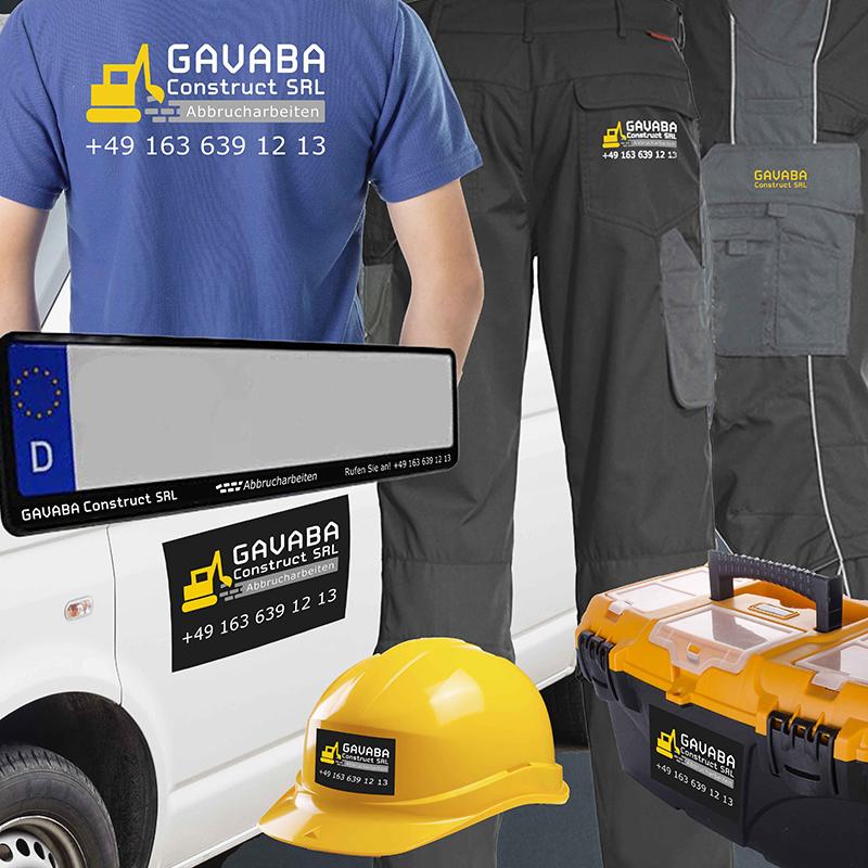 printandgraphic - Werbeagentur - GAVABA Construct SRL - Logoentwicklung, Arbeitskleidung, Fahrzeugbeschriftung, Aufkleber