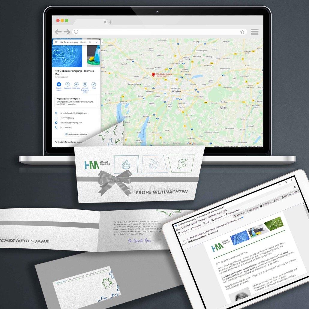 printandgraphic - Werbeagentur - HM Gebäudereinigung, GoogleMaps, Rundmail, Weihnachtskarte